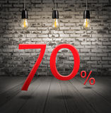 Discount 70 percent off with text special offer your discount in. Interior with white brick wall and wooden floor and classic Edison light bulb Stock Illustration