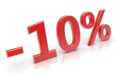 10% discount. 10 percent sale discount. 3d image Stock Image