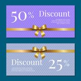 Discount on 50 25 Percent Set of Posters with Gold. Ribbons and bows on abstractpurple with dots. Gift certificates vouchers with place for text Stock Image
