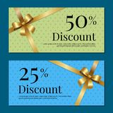 Discount on 50 25 Percent Set of Posters with Gold. Ribbons and bows on abstract blue and green. Gift certificates vouchers with place for text Royalty Free Stock Photography