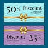 Discount on 50 25 Percent Set of Posters with Gold Royalty Free Stock Photos
