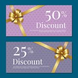 Discount on 50 25 Percent Set of Posters with Gold Royalty Free Stock Image