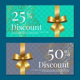 Discount on 50 25 Percent Set of Posters with Gold. Ribbons and bows on purple and green with snowflakes Gift certificates vouchers with place for text Royalty Free Stock Photos