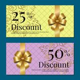 Discount on 50 25 Percent Set of Posters with Gold. Ribbons and bows on purple and yellow with snowflakes Gift certificates vouchers with place for text Royalty Free Stock Images