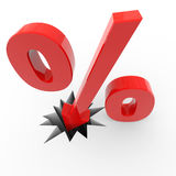 Discount percent sign breaking floor. Royalty Free Stock Photography
