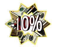 Discount 10 percent sign. Closeup vector illustration