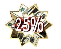 Discount 25 percent sign. Closeup Stock Images