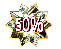 Discount 50 percent sign. Closeup Royalty Free Stock Image