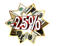 Discount 25 percent sign Royalty Free Stock Images