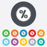 Discount percent sign icon. Star symbol. Round colourful 11 buttons vector illustration