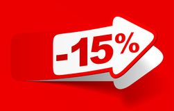 Discount 15 percent - stock. Red discount 15 percent - stock Stock Photography