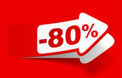 Discount 80 percent - stock vector. Red discount 80 percent - stock vector Stock Image