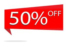 Discount 50 percent on white background. special offer sale red. Tag. discount offer. red discount 50%. sale discount sign vector Stock Illustration