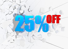 25 discount. 25 percent discount on white cracked background Royalty Free Stock Photo