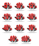 Discount percentage. Character Set - discount percentage in perspective. AI-10 vector illustration