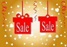 The discount percentage. Discount price and sale. Golden background. Shops and discount the lowest prices. Vector illustration. Se. T. Kit. Gift. Festive Royalty Free Stock Photo