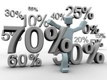 Discount percentage falling around a man Stock Photography