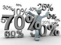Discount percentage falling around a man. Seasonal sales campaign vector illustration
