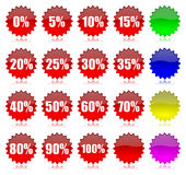 Discount percentage icons set. Red discount percentage glossy icons set with reflection illustration vector illustration