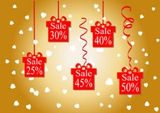 The discount percentage. Discount price and sale. Golden background. Shops and discount the lowest prices. Vector illustration. Se. T. Kit. Gift. Festive Stock Photos