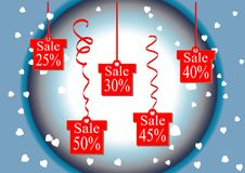 The discount percentage. Discount price and sale. Golden background. Shops and discount the lowest prices. Vector illustration. Se. T. Kit. Gift. Festive Stock Image