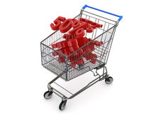 Discount percentage and shopping cart Royalty Free Stock Photography