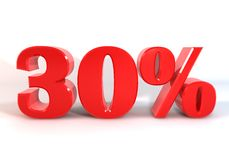 Discount30percentRednumberIsolate Stock Fotografie