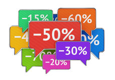 Discount percents in speech bubbles Royalty Free Stock Images