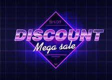 Discount poster with cool design. Back to the 80s. Vector discount emblem. The 80s are back. 80 s style illustration. Discount sale cards. Template for design Stock Photos