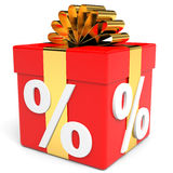 Discount. Present box. 3D illustration Stock Photos