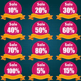 Discount price tag set. Vector Illustration Royalty Free Stock Images