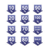 Discount price tags. Blue discount price tag illustration with arrows and percents Royalty Free Illustration