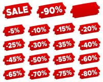 Discount Price Tags - Discount Label Set. Stock Photo