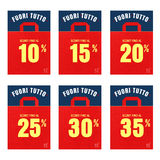 Discount price tags. % off tag isolated on white illustration of discount price tags Stock Image