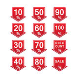 Discount price tags. Red discount price tag vector illustration with arrows and percents Royalty Free Illustration