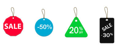 Discount price tags on white background. Four colored price tags, discount price tags on white background Stock Images