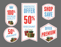 Discount product labels and tags vector design Stock Photography