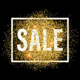 Discount promo label. Golden glitter sale tag. Stock Photography