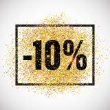 Discount promo label. Golden glitter sale tag. 10 percent discount promotion tag. Promo sale label. New Year, Christmas offer. Golden glitter template for shop Royalty Free Stock Photos