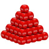 Discount Pyramid Concept 55%. Pile of 3d discount cubes forming pyramid. Sale promotional concept. 3D render vector illustration
