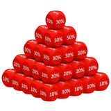 Discount Pyramid Concept. Pile of 3d discount cubes raging from 10 to 70 forming pyramid. Sale promotional concept Stock Illustration