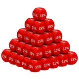 Discount Pyramid Concept 15%. Pile of 3d discount cubes forming pyramid. Sale promotional concept Royalty Free Stock Images