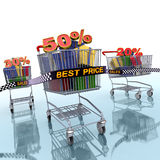 Discount race concept. 3d Illustration of a shopping carts which abstract discount percentages Stock Photos