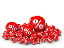Discount. Red discount balls. 3D illustration Royalty Free Stock Image