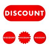 Discount red button. Red color sign. Vector illustration Royalty Free Stock Photography