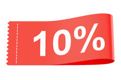 10% discount red clothing label, 3D rendering. On white background Royalty Free Stock Images