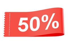 50% discount red clothing label, 3D rendering. On white background Stock Photos
