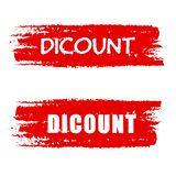 Discount on red drawn banners Stock Photography