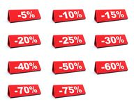 Discount red labels stock illustration