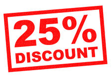 25% DISCOUNT. Red Rubber Stamp over a white background Royalty Free Stock Image